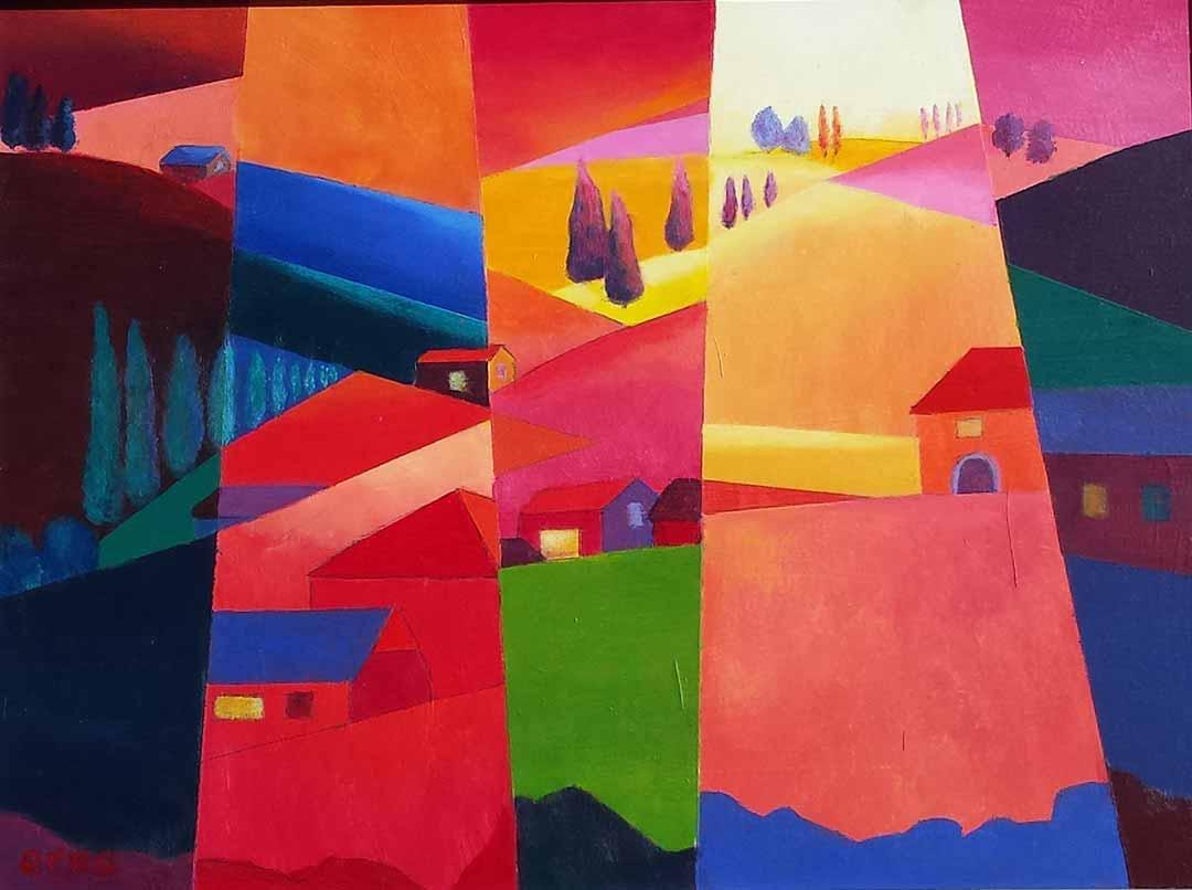 schilderij italië tweeluik
