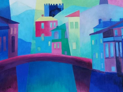 schilderij italie tweeluik 2 -Erna van der Veen