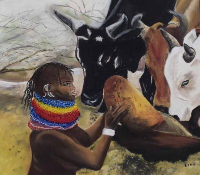 schilderij keniaanse vrouw