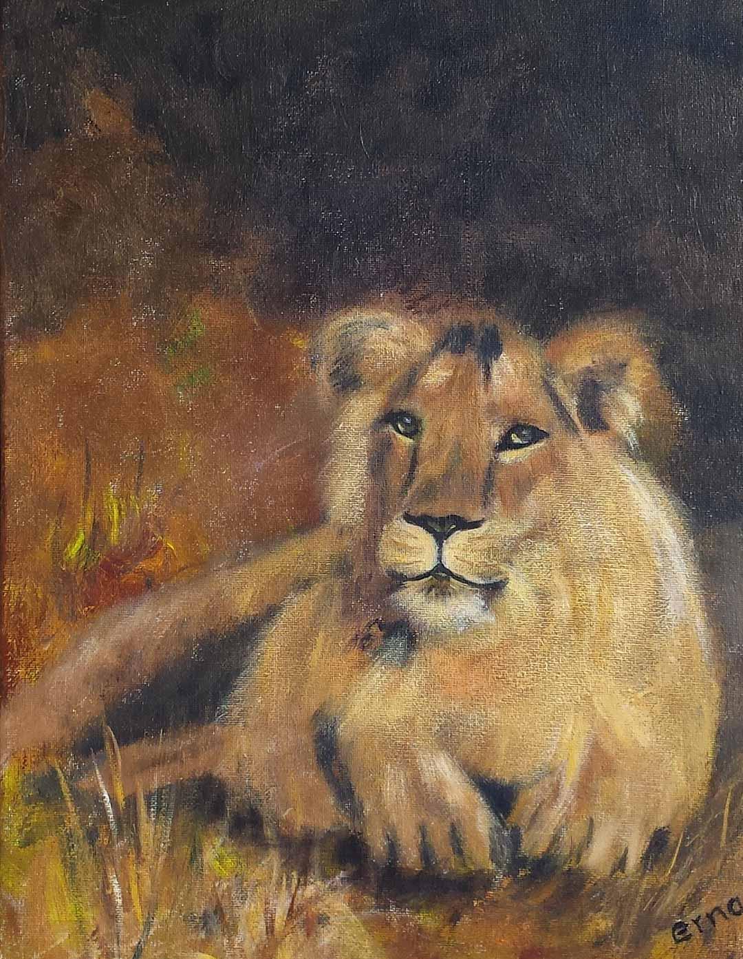 schilderij leeuw in rust