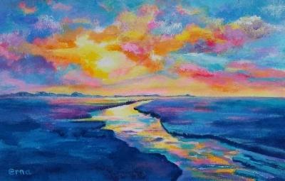 schilderij ondergaande zon wadden