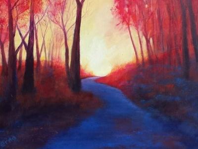 schilderij rode gloed erna van der veen