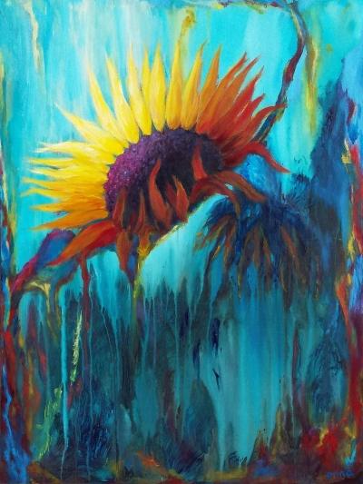 schilderij stervende zon