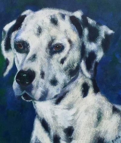 schilderij trouwe hond