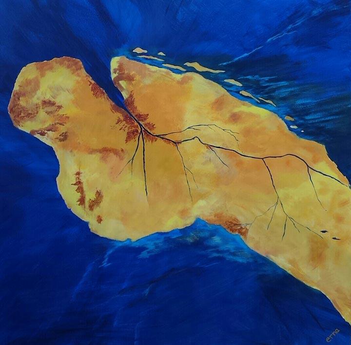 Tussen land en water schilderij Erna van der Veen