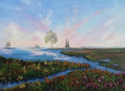 Waterland schilderij Erna van der Veen